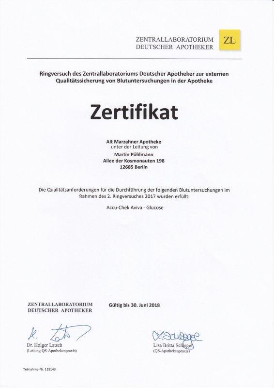 Zertifikat Blutzuckermessgerät